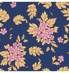pink flower and yellow leafs on dark blue backgrou vector image vector image