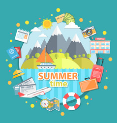 summer time flat vector image vector image