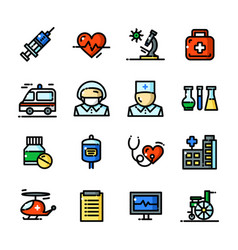thin line medical icons set vector image