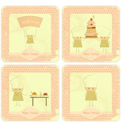 Vintage Set of kids menu vector image vector image