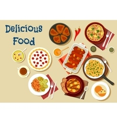 Healthy food dishes icon for dinner menu design vector