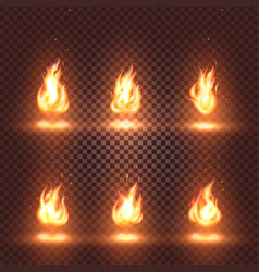 isolated abstract realistic fire flame images set vector image vector image
