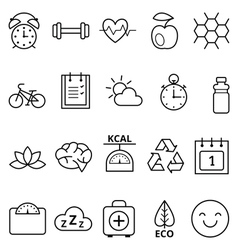 Set of linear web icons healthy vector image