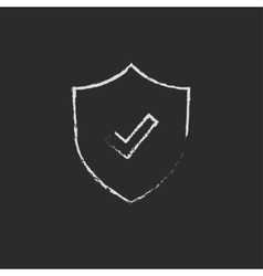 Shield with check mark drawn in chalk vector image