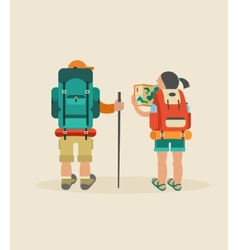 vintage poster with couple of backpackers vector image vector image