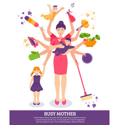 busy mother concept vector image vector image