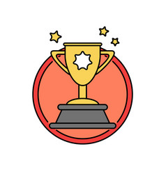 success trophy first prize retro badge icon vector image