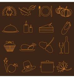 thanksgiving symbols color outline icons set eps10 vector image vector image