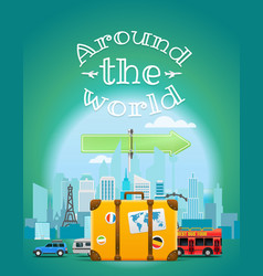 travel with the bag around the world vector image