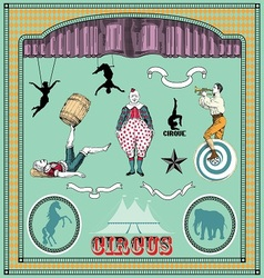 vintage circus elements vector image vector image