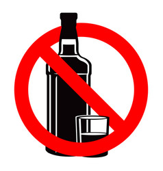 bottle of alcohol drink and stemware in no allowed vector image
