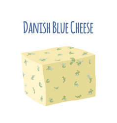 Danablu cheese with mould dairy milky product vector