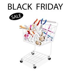 Repair Tool Kits in Black Friday Shopping Cart vector image