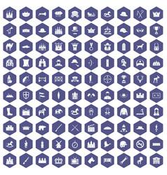 100 horsemanship icons hexagon purple vector