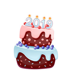 2019 candles on a festive cake happy new year vector