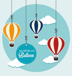 Air balloon over blue background vector image