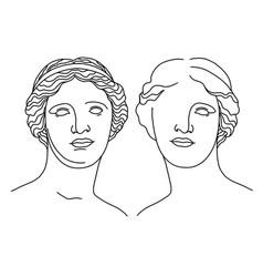 Antique sculpture head venus de milo aphrodite vector