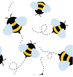 Bee seamless pattern honey vector