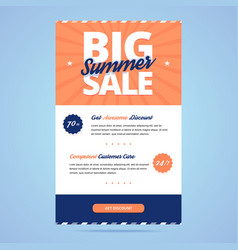 Big summer sale newsletter template vector