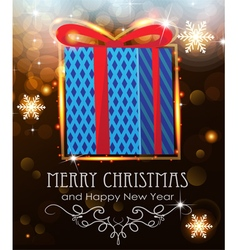 Blue Christmas Gift on holiday background vector