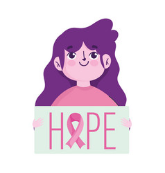 breast cancer awareness month young woman and hope vector image