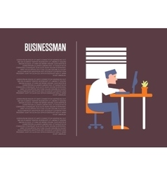 Business banner with businessman at table vector