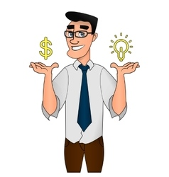 businessman character creative idea concept vector image