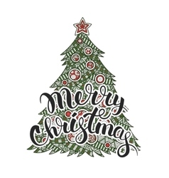 Calligraphy lettering Merry Christmas vector