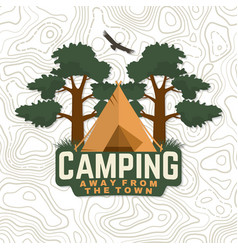 camping badge away from town for vector image