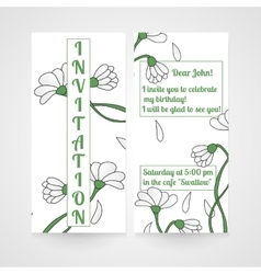 Card with hand drawn chamomiles Invitation for vector