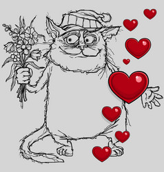 cartoon cat in love with flowers in hand vector image