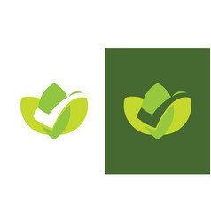 checkmark green leaf logo vector image