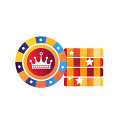 chips for poker game with crown in middle vector image