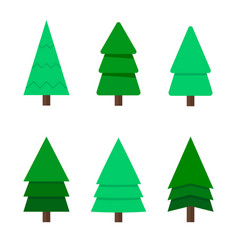 Christmas tree a set of nine green christmas vector