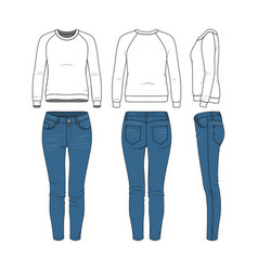 Clothing set raglan sweatshirt jeans vector