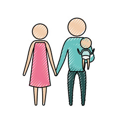 color crayon silhouette pictogram parents with a vector image