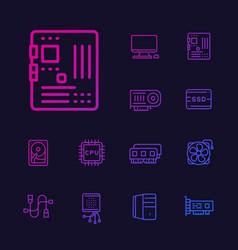 Computer components icons set vector