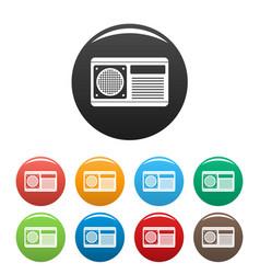Conditioner fan icons set color vector