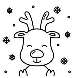 Cute christmas reindeer black outline with snow vector