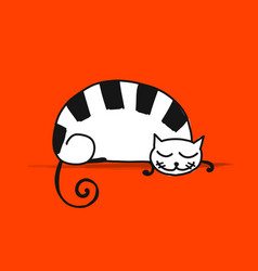 cute sleeping cat sketch for your design vector image