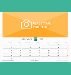 December 2018 wall monthly calendar for 2018 year vector