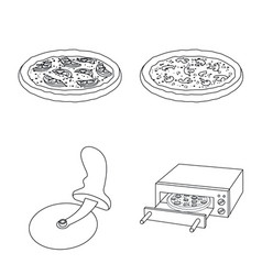 design of pizza and food icon collection vector image