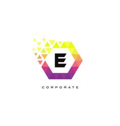 e colorful hexagon shaped letter logo design vector image