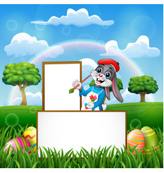 easter rabbit painting in an empty board vector image