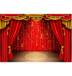 Empty stage with red curtain and falling confetti vector