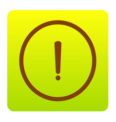 exclamation mark sign brown icon at green vector image