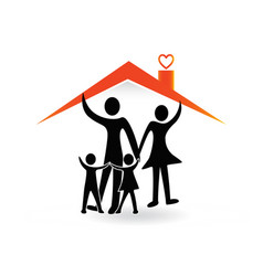 Family under roof house icon logo vector