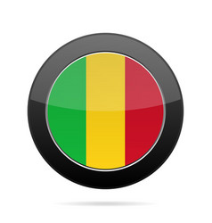 flag of mali shiny black round button vector image