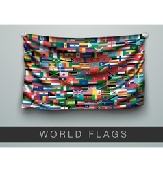 Flags of the world in one flag with shadow vector
