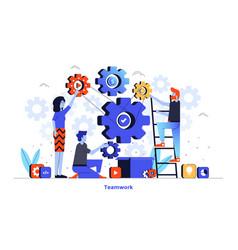 flat color modern design - teamwork vector image